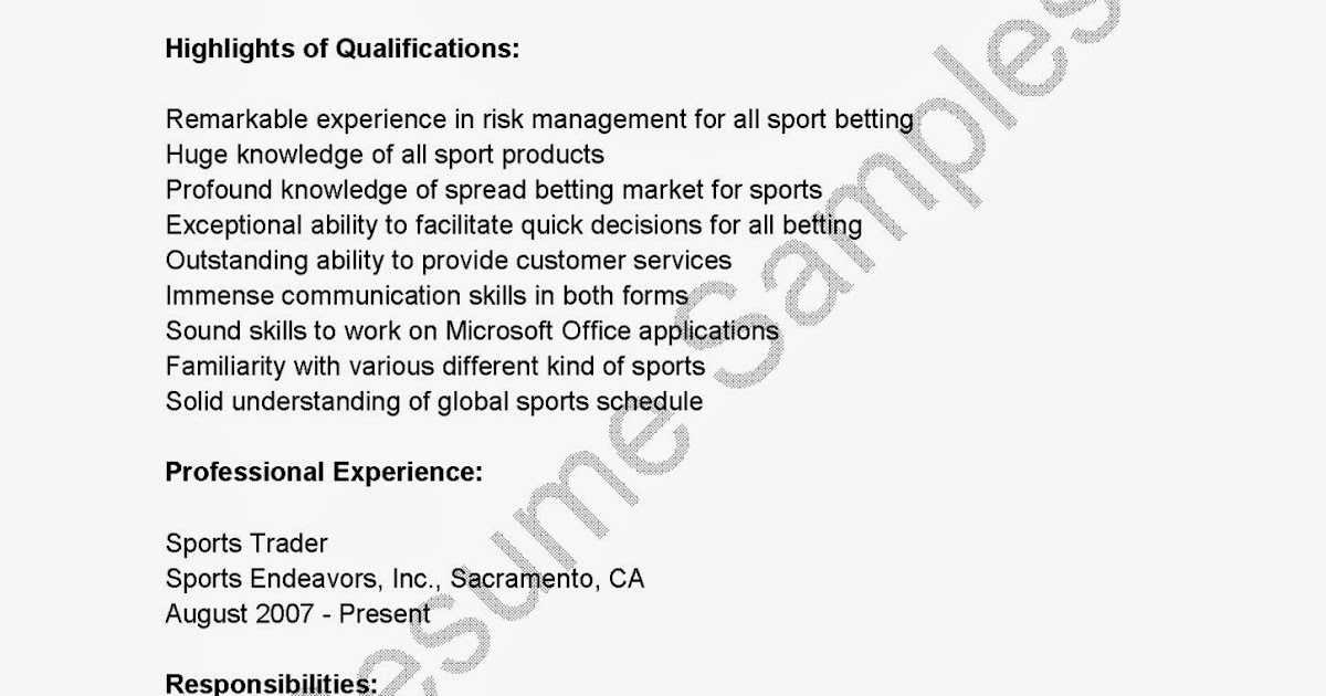 Resume Samples Sports Trader Resume Sample