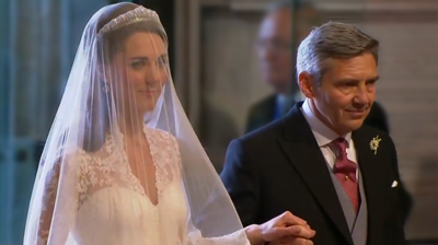 Catherine enters Westminster Abbey by the side of her father Michael. YouTube 2011.