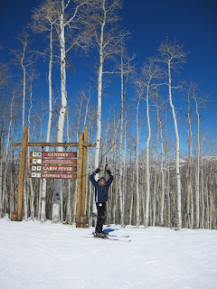 Noah at the top of Gunders on Bachelor Gulch