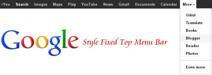 Google Style Top Fixed Menu Bar