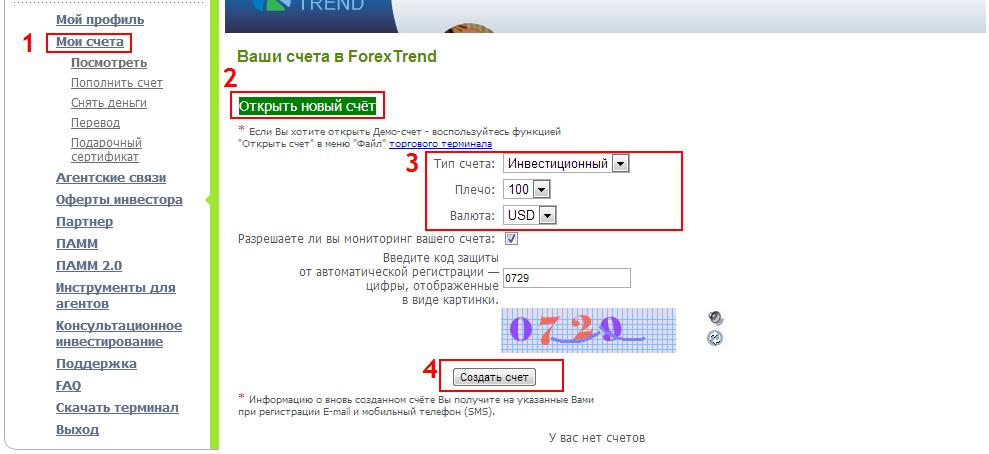 Открытие forex