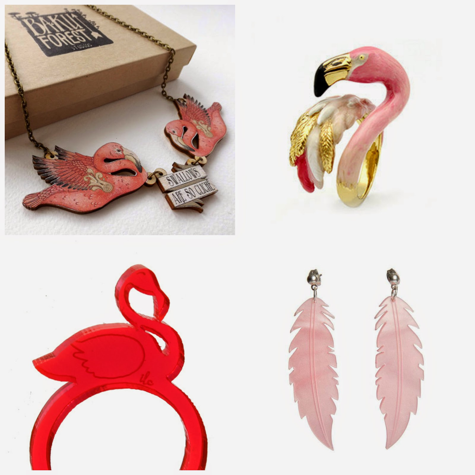 Flamingo jewellery, flamingo themed jewellery, Baku Forest flamingo necklace, swallows are cliche necklace, I love crafty flamingo ring, Sugar and Vice flamingo earrings