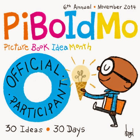 The funky online badge for PiBoIdMo, by Vin Vogel.