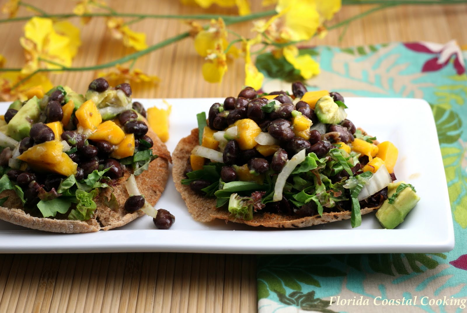 Avocado, Mango and Caribbean Black Bean Tostada - Coastal Cooking