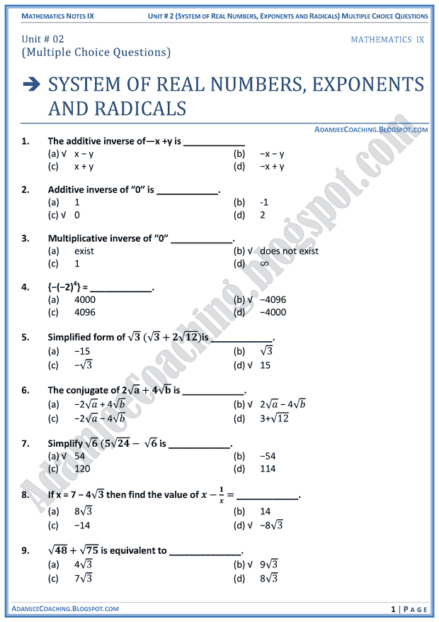 system-of-real-numbers-exponents-and-radicals-mcqs-mathematics-notes-for-class-10th