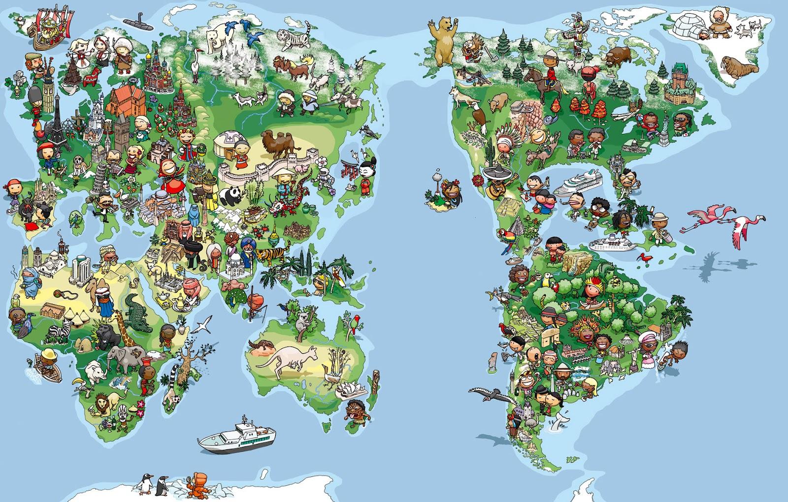 un mapamundi para la agencia de viajes sb color de los edificios por ...