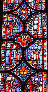 stained glass window from notre dame in paris france