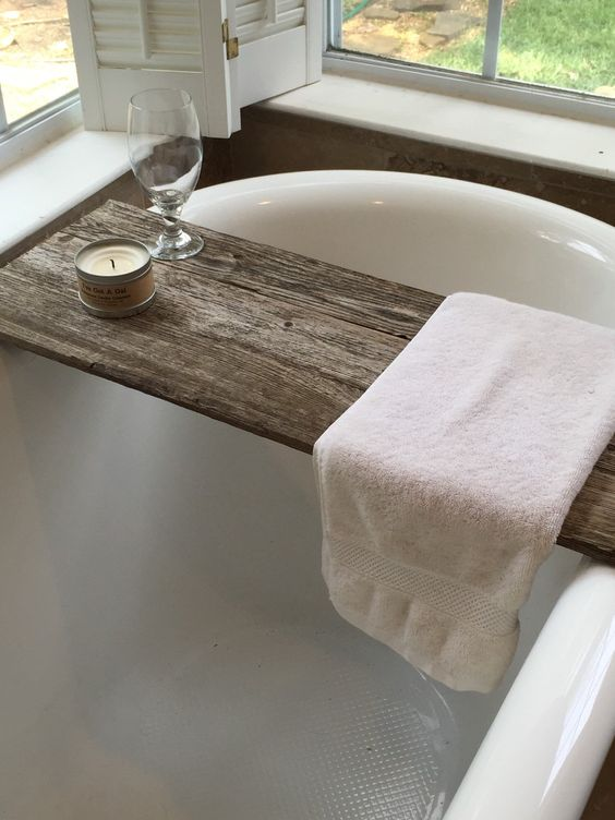 After finding these lovely images of wooden bath caddies  just by chance. a perfect gray  Wooden Bath Caddies