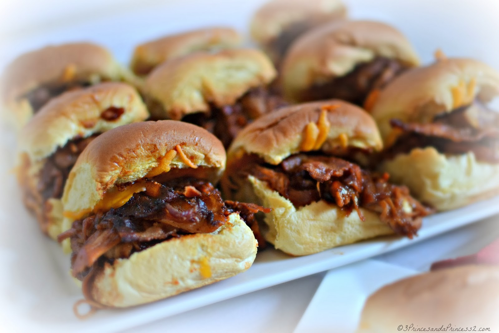 BBQ Chicken, Cheese and Bacon Sliders #Recipe