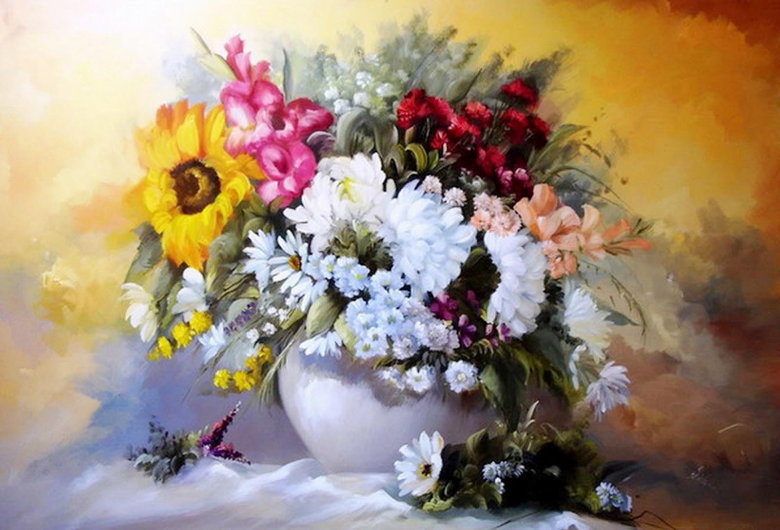 Im genes arte pinturas pinturas floreros decorativos al leo - Lienzos decorativos ...
