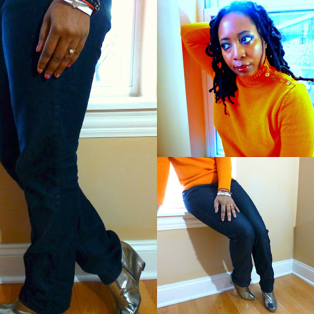 orange sweater jeans silver booties