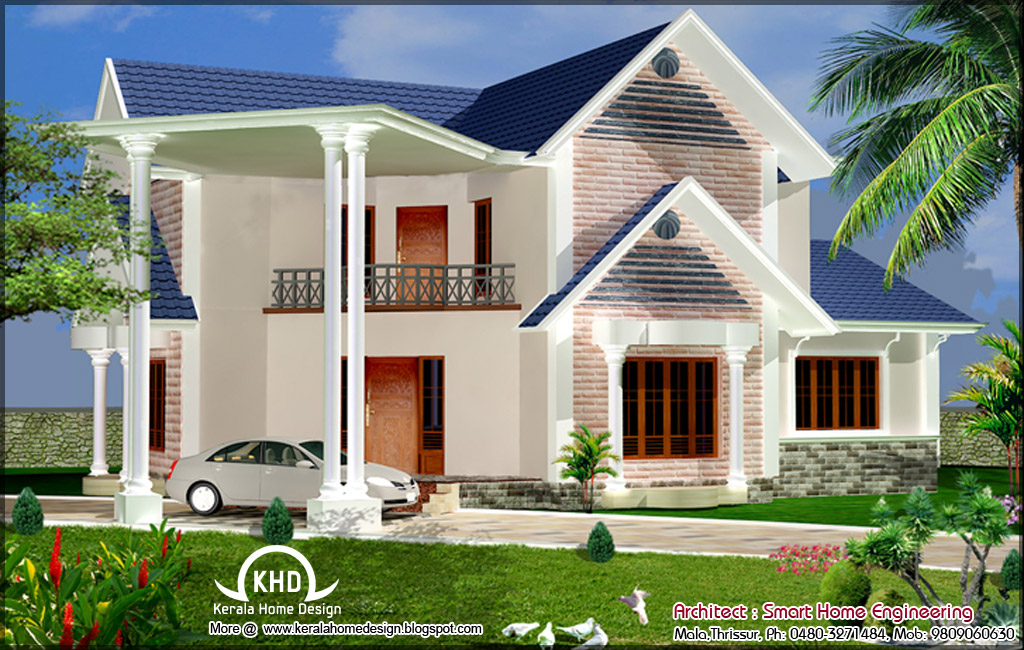 House elevation design 2400 sq ft kerala home design for Latest design house plan