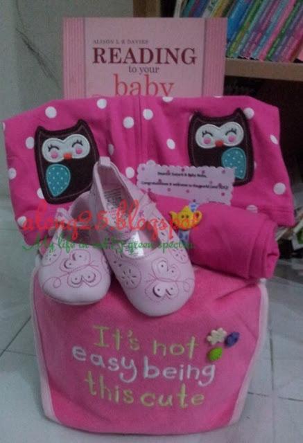diapers cake mura comel hamper budget baby gift hadiah baby lain dari yang lain blog along25 baby girl pink owl burung hantu tema