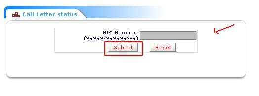 Click Issb Call Letter Option Then Enter Nic