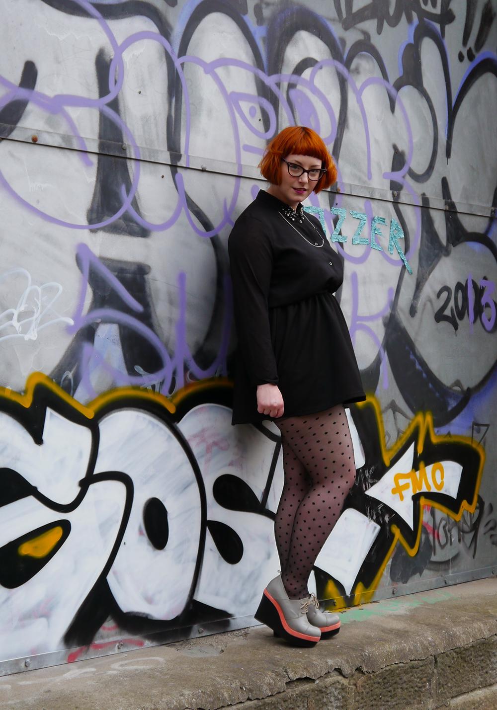 Lady Muck, Lady Muck of Whitstable, laser cut jewellery, metal jewellery, seagull necklcae. H&M shirt, jewelled collar, black skirt, polka dot tights, wedge shoes, Scottish blogger, red head, ginger bob, micro bob