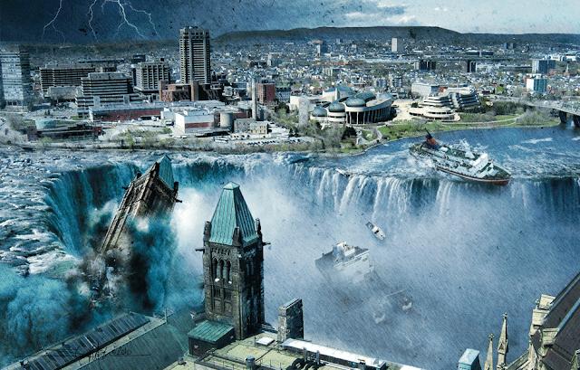 Apocalipse: Tsunami gigante invadindo a Europa em 2036, arte digital