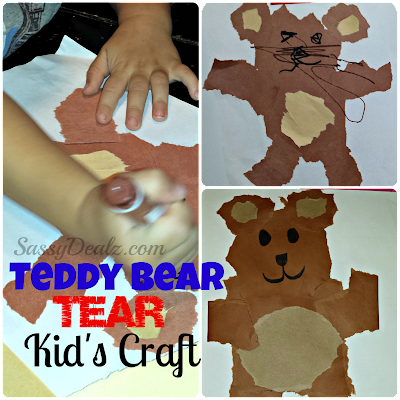teddy bear tear kids craft project