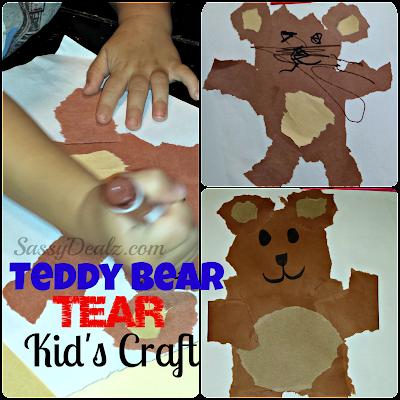 teddy bear tear kids craft project