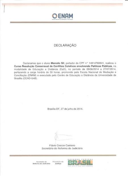 DECLARAÇÃO DA ESCOLA NACIONAL DE MEDIAÇÃO CONCEDIDO À MARCELO GIL - 2014