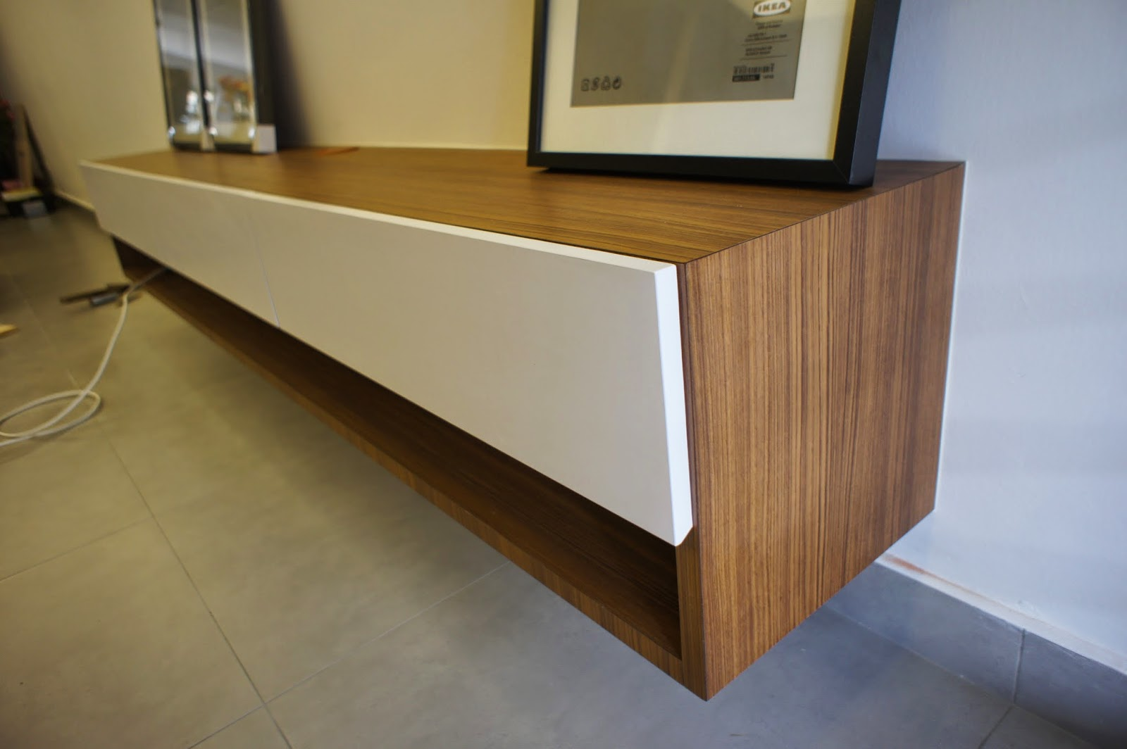 Fukusu Minimalist Wall Hang Tv Cabinet In Awesome Formica Teak Allover