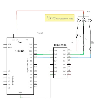 RGB Led with Arduino Schematic