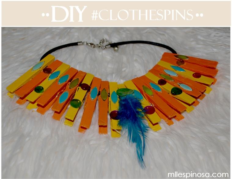 collar diy con pinzas de tender la ropa