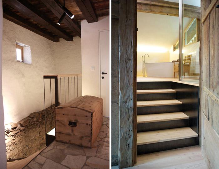 una casa rustica moderna - baúl antiguo escaleras baño