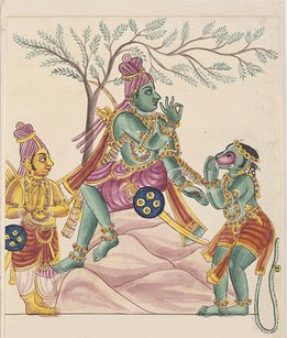 Hanuman receiving instructions from, while Lakshmana looks on. The bonds that unite the monkey general to Rama are those of selfless loyalty, for which he was rewarded with the boon of immortality. Trichinopoly painting, 1820. Victoria and Albert Museum, London.