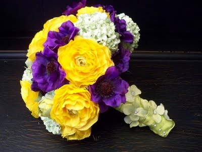Wedding by designs purple and yellow bouquets wedding flowers yellow and purple so if your hubby to be is a lakers fanatic send him a link to this post but warn him ahead of time not to get any crazy mightylinksfo