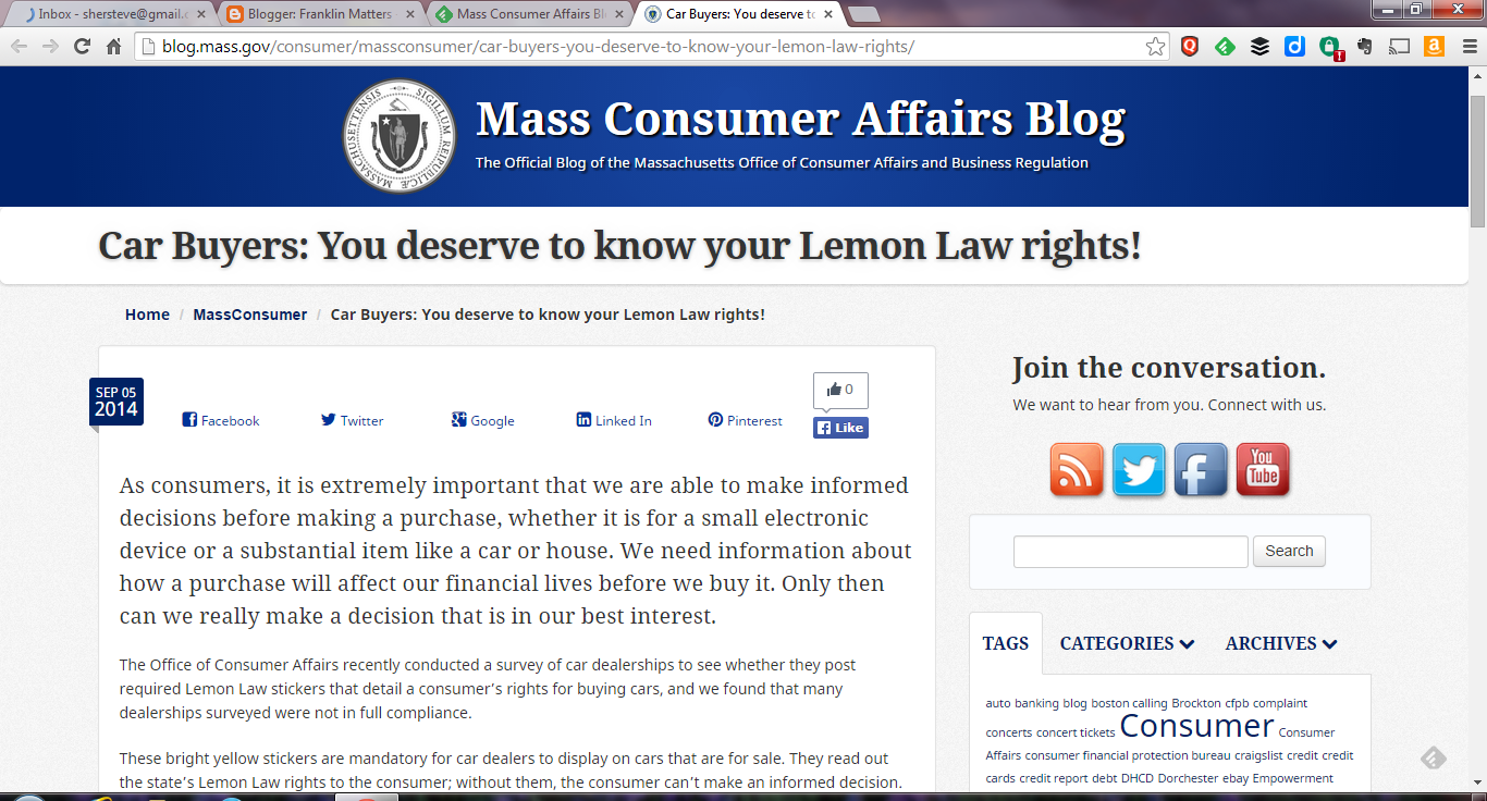Franklin Matters Online Tool For Ma Lemon Law