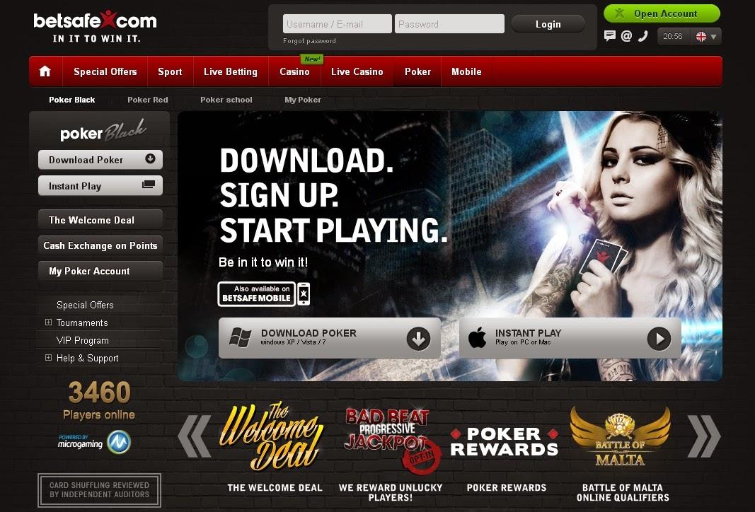 Betsafe Poker Screen