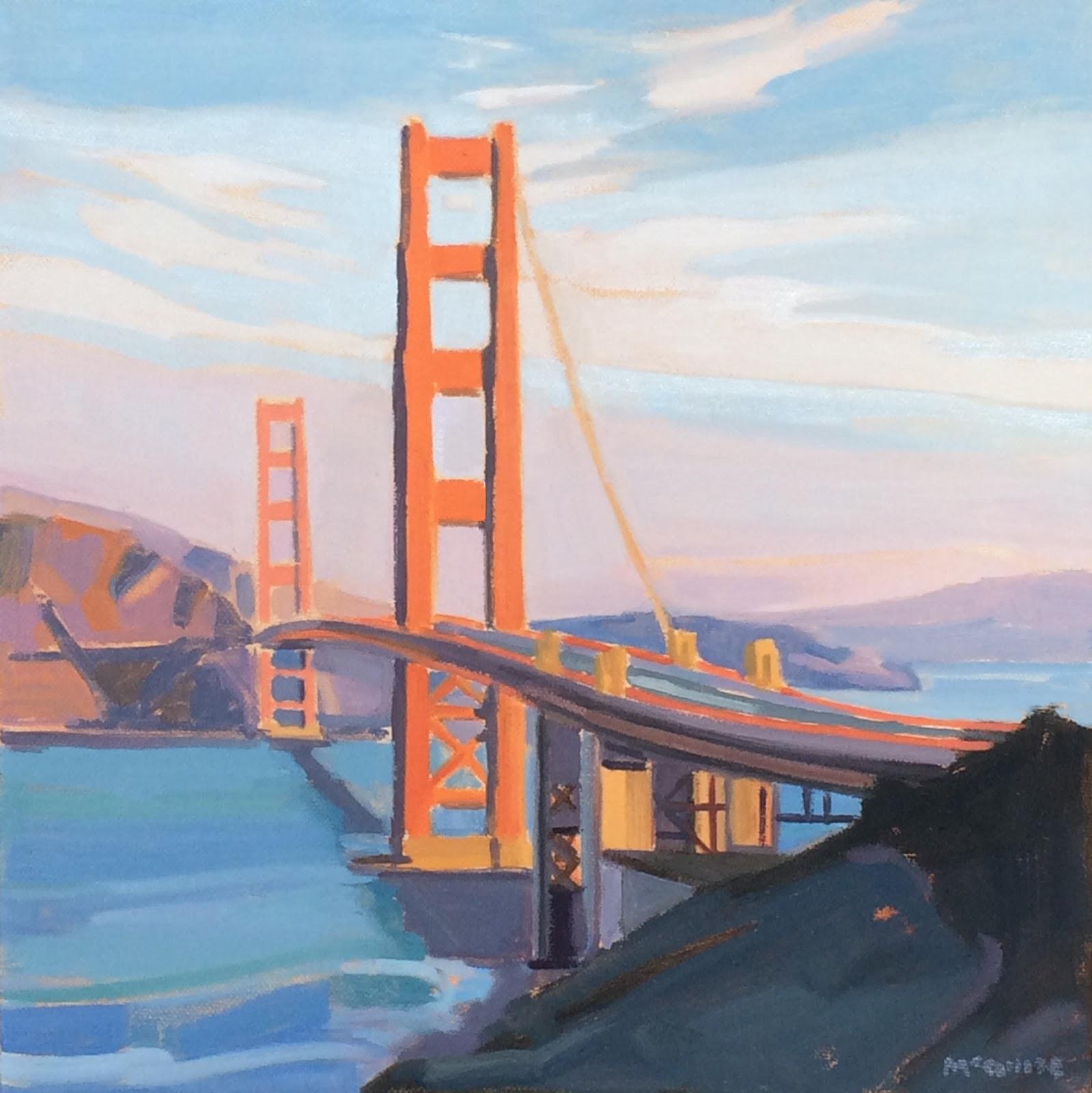 Golden Gate Bridge San Francisco California Sunset Picture: Katherine McGuire Artist, Oil Paintings Of California