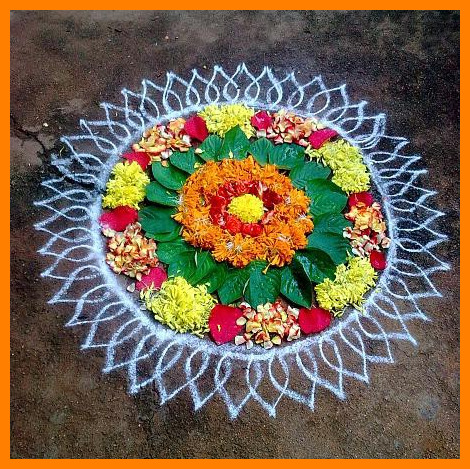 GRUHAPRAVESAM SPECIAL MUGGU with FLOWERS INSIDE DECORATION