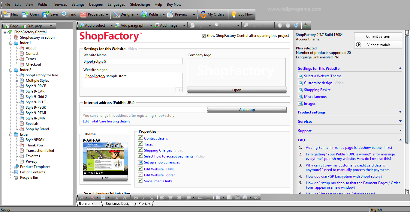 ShopFactory Gold v9.3.7 Build 13084 Full Version | All ...