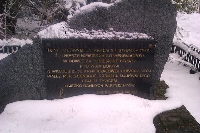 Boków, pamiątkowa tablica w miejscu śmierci 9 partyzantów. Foto. Radosław Nowek