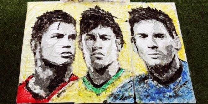 Wow Gambar Tiga superstar Piala Dunia 2014 ini dilukis dengan bola