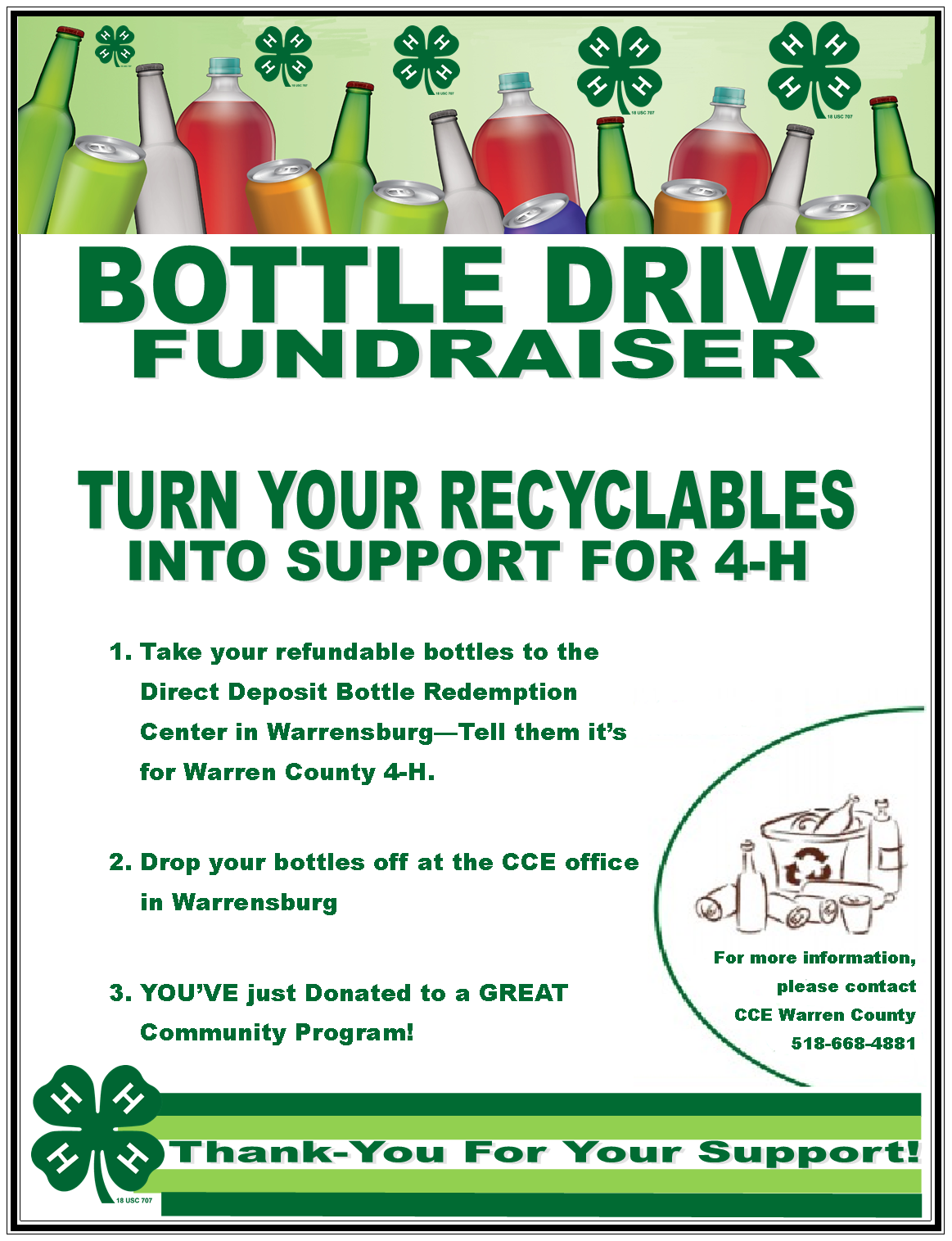 4-H Bottle Drive Fundraiser