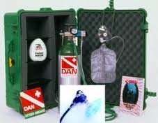 Scuba Tech Diving Centre, Cyprus' emergency oxygen kit from Divers Alert Network containing Cylinder of Oxygen, oxygen mask, demand valve and constant flow adaptors