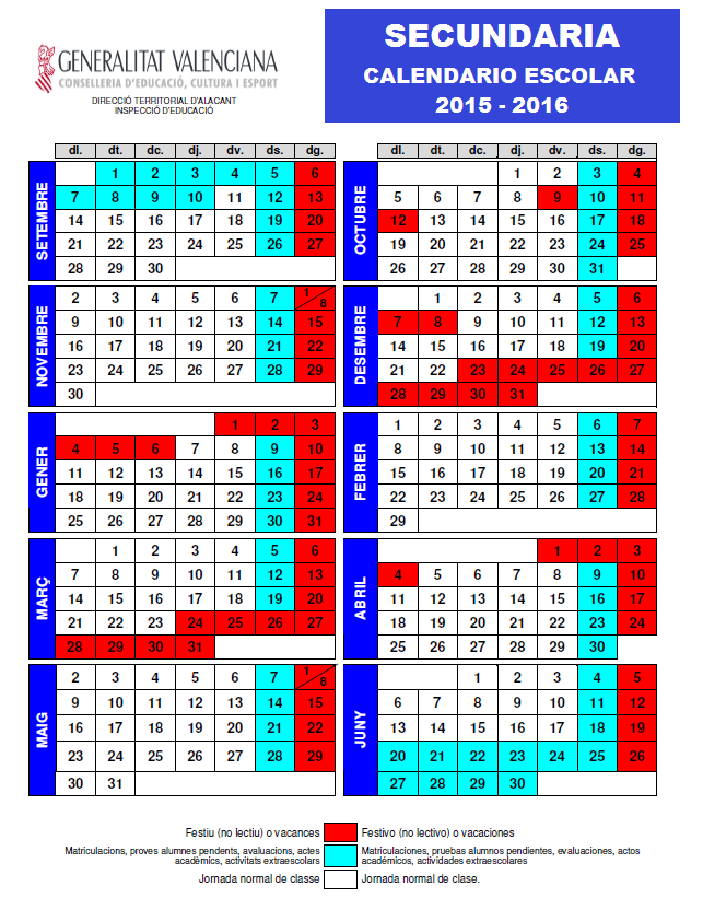 Calendario escolar SECUNDARIA 2015 - 2016