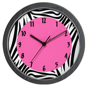 CafePress Zebra Print and Hot Pink Wall Clock