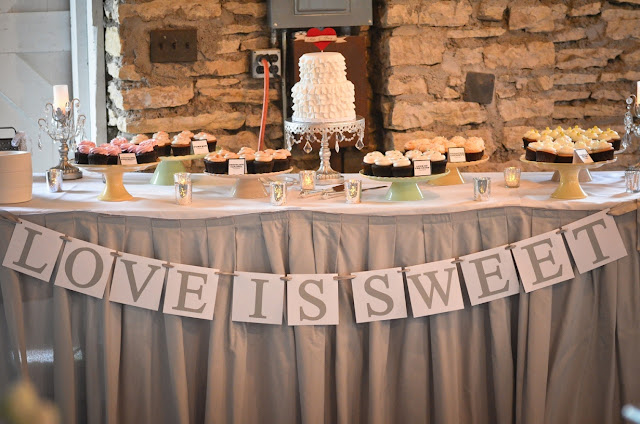 Vintage Chic Wedding Cake and Cupcakes Table - Minnesota