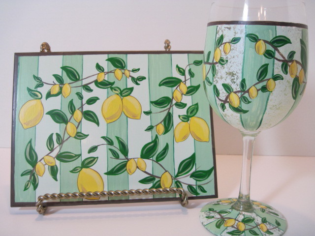 Lemon Painted Wine Glass And Ceramic Tile