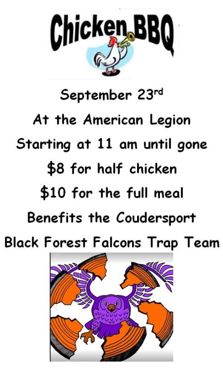 9-23 Chicken BBQ Coudersport American Legion