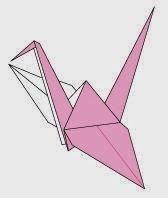 Bước 14: Hoàn thành con chim hạc giấy với 2 màu sắc khác nhau ở 2 bên cánh rồi đó.