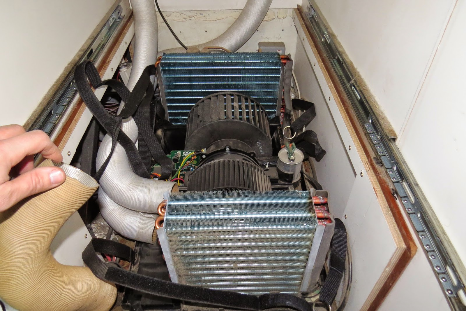 The insides of a Dometic HB2500 air conditioner