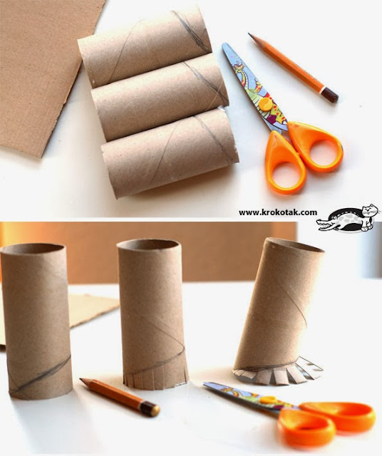 Toilet paper roll into pencil holder diy craft projects