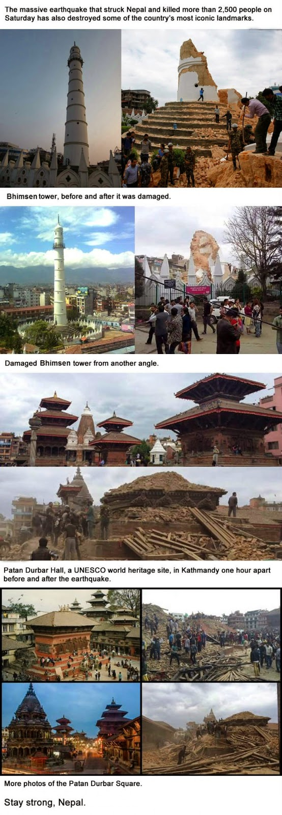 Nepal Earthquake's effects on Bhimsen tower and Patan Durbar Hall.