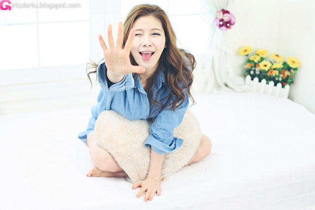 1 Hwang Ga Hi - Blue Denim Shirt-very cute asian girl-girlcute4u.blogspot.com