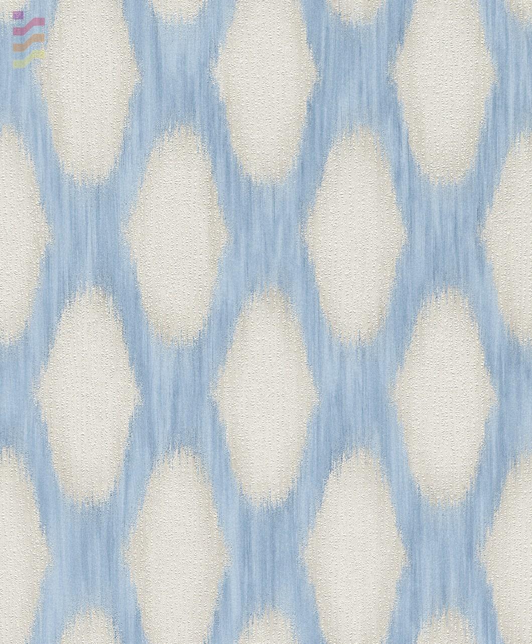 tapeta do sypialni niebiesko biała