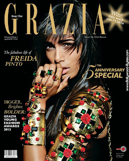 Hot Freida Pinto Cover Girl Grazia Fashion April 2013